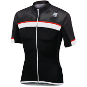 Sportful Pista Short Sleeve Jersey - Black/White/Red