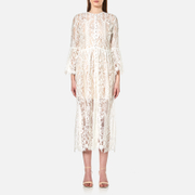 Perseverance Women's Floral Tiered Lace Buttoned Cover Up Coat - Off White