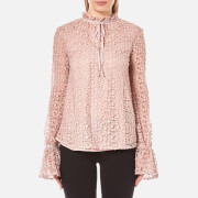 Perseverance Women's 3D Floral Lace Tie Detail Top - Dusty Pink