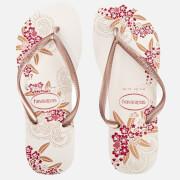 Havaianas Women's Organic Slim Flip Flops - White/Rose Gold