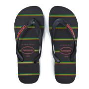 Havaianas Men's Top Stripes Logo Flip Flops - Black/Black/Red