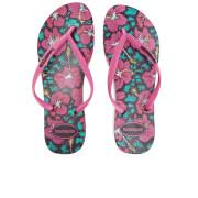 Havaianas Women's Floral Slim Flip Flops - Black/Orchid Rose