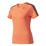 adidas Women's D2M 3 Stripe T-Shirt - Easy Coral