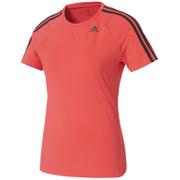 adidas Women's D2M 3 Stripe T-Shirt - Core Pink