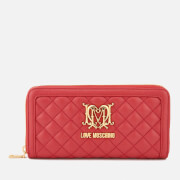 Love Moschino Women's Quilted Zip Around Purse - Red