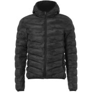 Brave Soul Men's Hugo Camo Padded Hooded Jacket - Black