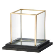 Parlane Cube Candle Holder - Glass/Gold (13.5 x 15cm)
