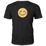 Emoji Unisex Blush Face T-Shirt - Black