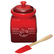 Le Creuset Stoneware Berry Jam Jar & Spreader - Cerise