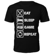 Männer Eat Sleep Game Repeat T-Shirt - Schwarz