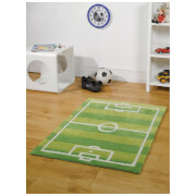 Flair Kiddy Play Rug - Football Pitch Green (70X100)