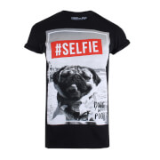 Doug The Pug Selfie Dames T-Shirt - Zwart