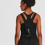 IdealFit Open Back Vest Tank Top - Black