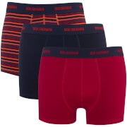 Ben Sherman Men's Kent 3 Pack Boxers - Navy/Red