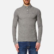 Superdry Men's Classic Long Sleeve Pique Polo Shirt - Quarry Grey Grindle Slub