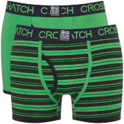 Crosshatch Men's 2 Pack Deckster Boxer Shorts - Classic Green