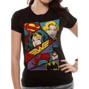 DC Comics Women's Heroine Pop Art T-Shirt - Black
