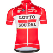 Lotto Soudal Short Sleeve Long Zip Jersey - Red/White