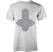 Abandon Ship Floral Zwart Cross Heren T-shirt - Wit