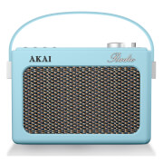 Akai Retro Vintage Portable Wireless DAB Radio with LCD Screen - Blue