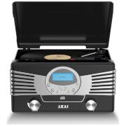 Akai Retro 4-in-1 USB Encoding Turntable Music System (Radio, CD, Vinyl, USB) - Black