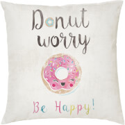 Donut Worry Cushion - White (45 x 45cm)