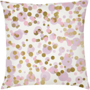 Confetti Print Cushion - Pink and Gold