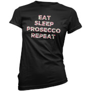 Eat, Sleep, Prosecco, Repeat Women's T-Shirt - Black