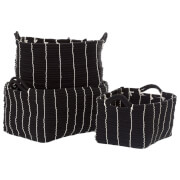 Fifty Five South Lida Rectangular Storage Baskets - Rope/Black (Set of 3)