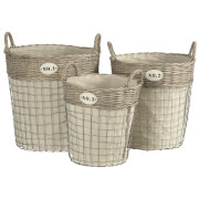 Fifty Five South Lida Round Laundry Baskets - Willow/Wire (Set of 3)