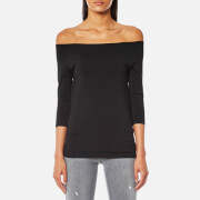 Helmut Lang Women's Off Shoulder Long Sleeve Top - Black