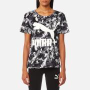 Puma Women's Archive Logo Short Sleeve T-Shirt - Puma Black AOP