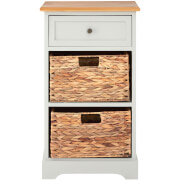 Vermont One Drawer Cabinet with Water Hyacinth Baskets - Grey