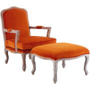 Rococo Chair with Footstool - Orange Velvet