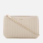 DKNY Women's Pinstripe Quilted Mini Double Compartment Cross Body Bag - Blush Grey