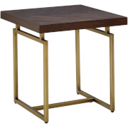 Fifty Five South Brando Side Table - Acacia Veneer/Antique Brass