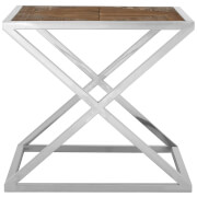 Fifty Five South Hudson Distressed Finish Side Table - Stainless Steel