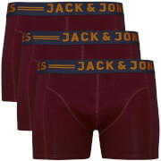 Jack & Jones Men's Lichfield 3 Pack Boxers - Burgundy/Navy/Grey