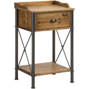 Fifty Five South Foundry One Drawer Table - Fir Wood/Metal