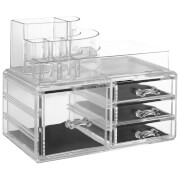 Fifty Five South 8 Compartment Four Drawer Cosmetics Organiser - Clear