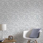 Boutique Cork Damask Metallic Textured Wallpaper - Pale Blue/Silver