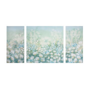 Art For The Home Trio 3 x Spring Meadow Floral Printed Canvas Wall Art