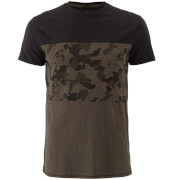 Threadbare Men's Independence Camo Panel T-Shirt - Khaki