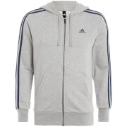 adidas Men's Essential 3 Stripe Zip Through Hoody - Grey Marl