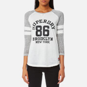 Superdry Women's Brooklyn Baseball Top - Fresh Grey Marl/Optic White