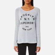 Superdry Women's Vintage Stripe Raglan Top - Grey/White Stripes