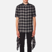Helmut Lang Men's Ombre Plaid Short Sleeve Shirt with Tail - Black