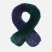 Charlotte Simone Women's Polly Pop Faux Fur Scarf - Navy/Green