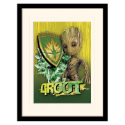 Guardians of the Galaxy Vol. 2 (Groot Shield) Mounted & Framed 30 x 40cm Print
