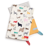 Joules Tea Towel Pack - All Over Dog